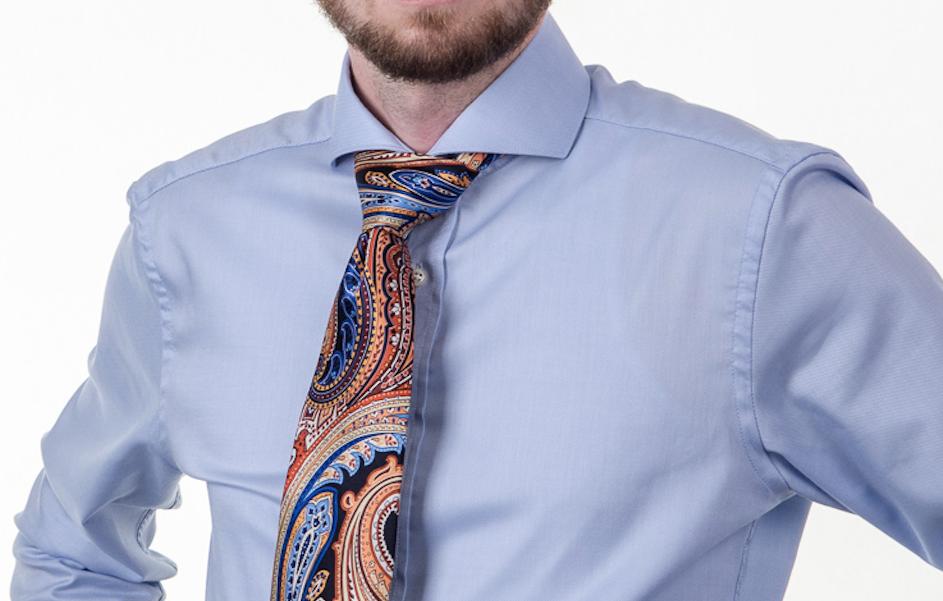 Obleková košeľa Stevula.sk detail golier Cutaway zapnutý